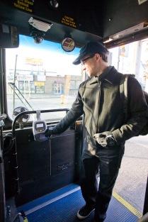 Boarding a Metro bus