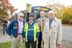 Pictured (l-r): Metro operators Larry Kingsbury, Mike Freund, General Manager Rob Gannon and Senior Deputy County Executive Fred Jarrett.