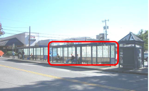 Bus shelter in West Seattle, with red box identifying two shelters to be removed.