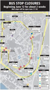 Map depicts bus stops temporarily closed on UW campus June 12-25 and alternate stop locations.