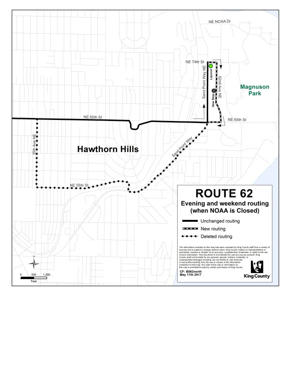 Map of Route 62 routing changes near Magnuson Park